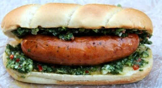 Choripan or choizo with chimmichurri